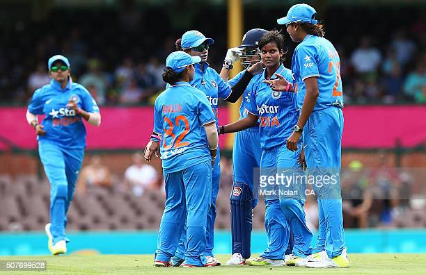 Deepti Sharma of India celebrates a wicket with team mates during the International Twenty20 match between Australia and India at Sydney Cricket...