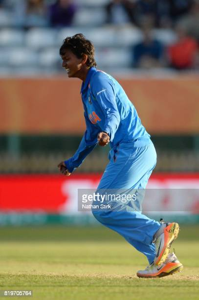 Deepti Sharma of india celebrates during the SemiFinal ICC Women's World Cup 2017 match between Australia and India at The 3aaa County Ground on July...