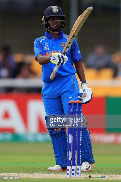 Deepti Sharma of India celebrates her half century during the ICC Women's World Cup 2017 match between South Africa and India at Grace Road on July 8...