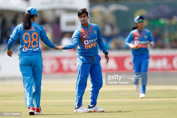 Deepti Sharma of India celebrates the wicket of Meg Lanning of Australia during game five of the Women's One Day International series between...