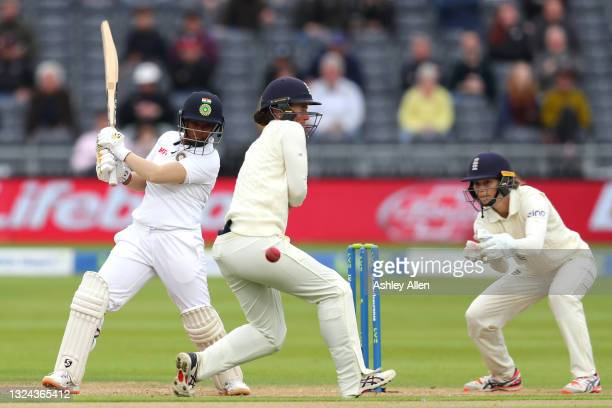 Deepti Sharma of India cuts the ball for four on Day four of the LV= Insurance Test Match between England Women and India Women at Bristol County...