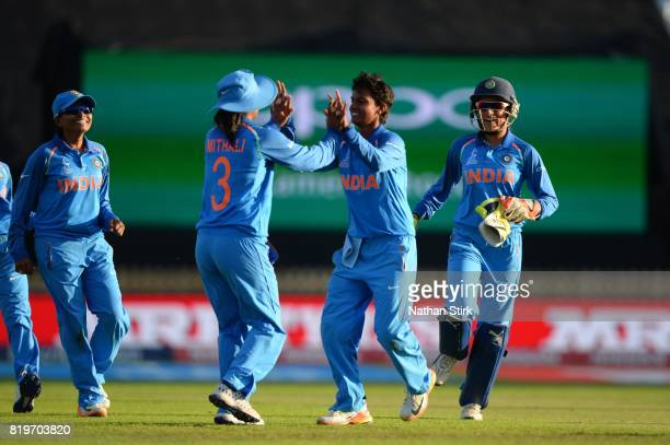 Deepti Sharma of India high fives Mithali Rajd as they win the SemiFinal ICC Women's World Cup 2017 match between Australia and India at The 3aaa...