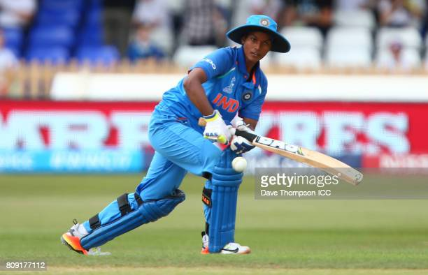 Deepti Sharma of India plays a shot during the ICC Women's World Cup match between Sri Lanka and India at The 3aaa County Ground on July 5 2017 in...