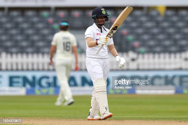 Deepti Sharma of India reaches 50 on Day four of the LV= Insurance Test Match between England Women and India Women at Bristol County Ground on June...
