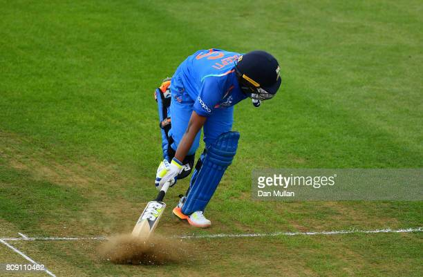Deepti Sharma of India stretches to make her ground during the ICC Women's World Cup 2017 match between Sri Lanka and India at The 3aaa County Ground...