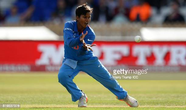 Deepti Sharma of India takes a catch off her own bowling to dismiss Nicole Bolton of Australia during the ICC Women's World Cup 2017 match between...