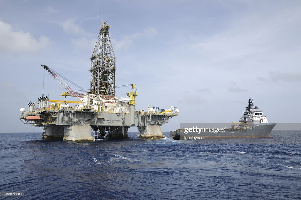 """Deepwater Horizon"" offshore oil rig and Tidewater supply vessel : Stock Photo"