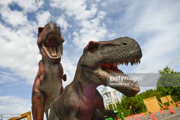 Photo of two animatronic Tyrannosaurus Rex dinosaurs during the preview of the Dino Safari Drive Thru Adventure, at the Tanger Outlets in Deer Park,...