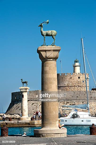 deer statues in mandraki harbor - colossus stock pictures, royalty-free photos & images
