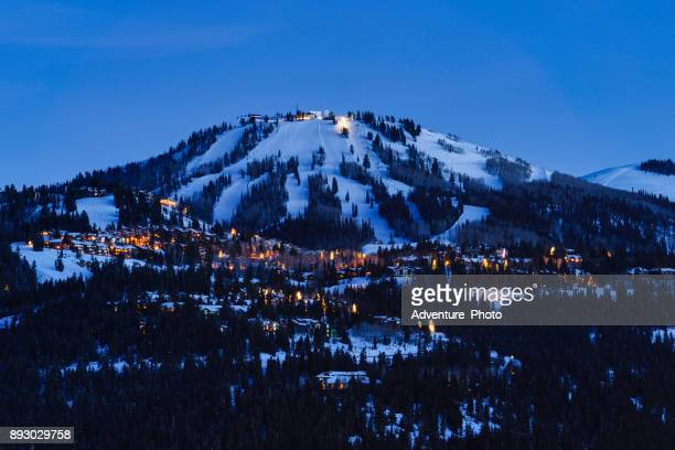 deer valley park city at dusk - park city stock pictures, royalty-free photos & images