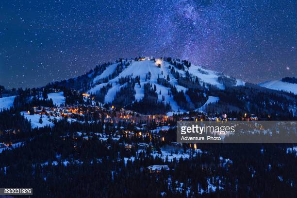deer valley park city at dusk - park city utah stock pictures, royalty-free photos & images