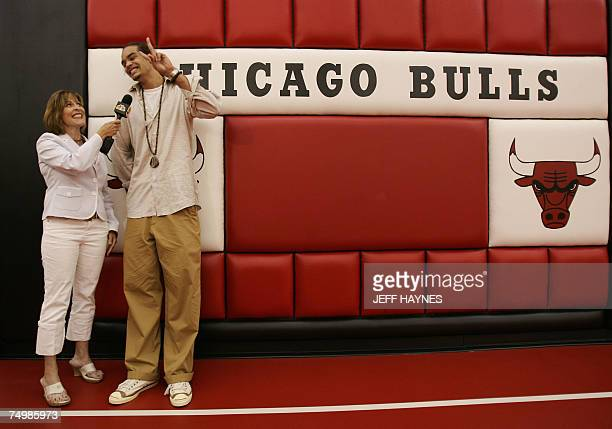 Joakim Noah the first round draft pick of the Chicago Bulls talks to a local TV reporter 02 July 2007 at the Chicago Bulls Berto Center practice...