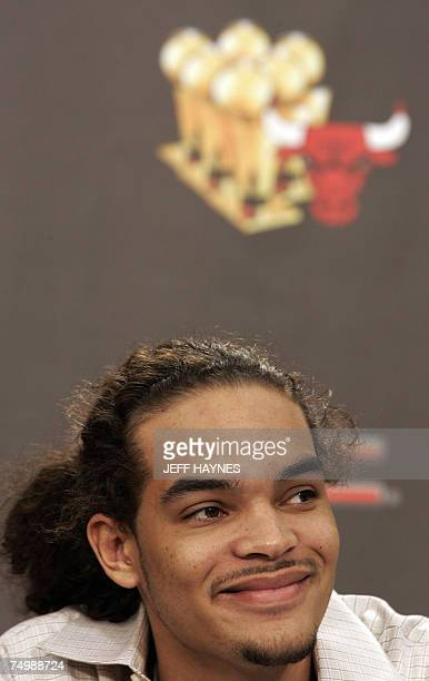 Joakim Noah the first round draft pick of the Chicago Bulls addresses the media 02 July 2007 at the Chicago Bulls Berto Center practice facility in...
