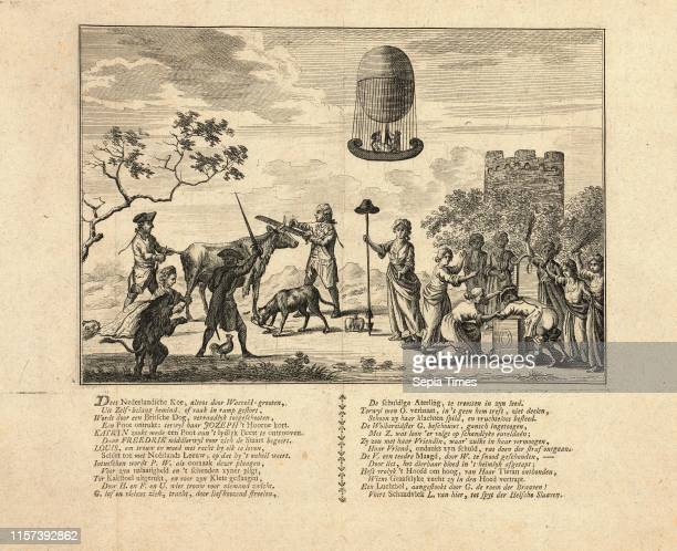 Dees Nederlandsche Koe altoos Waereldgrooten Dutch political cartoon about the partitioning of the Netherlands shows the shorning and dismembering of...