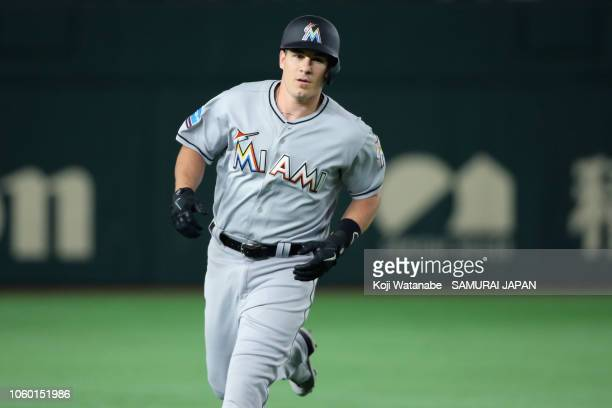 Deesignated hitter JT Realmuto of the Miami Marlins celebrates hitting a solo home run in the top of 4th inning during the game three of Japan and...