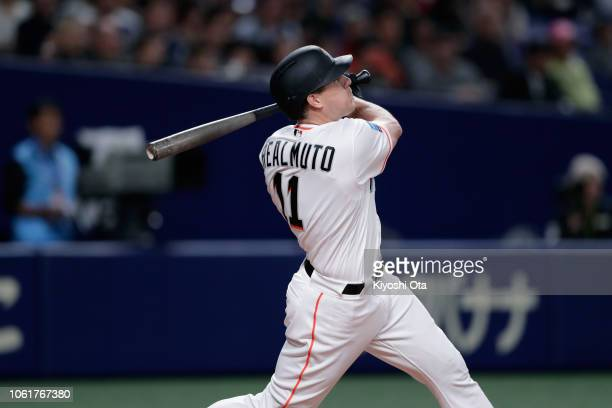 Deesignated hitter JT Realmuto of the Miami Marlins flies out in the bottom of 5th inning during the game six between Japan and MLB All Stars at...