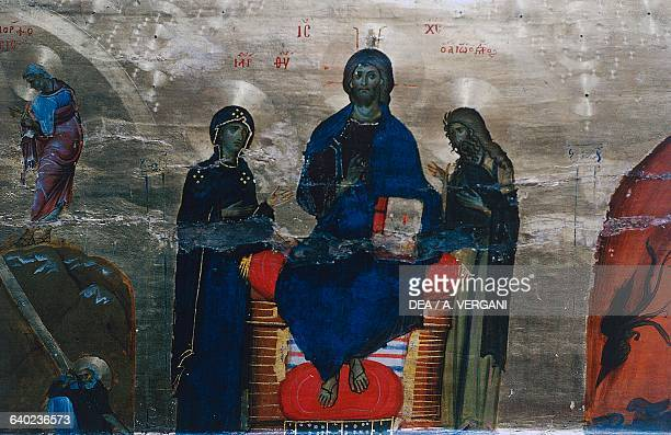 Deesis Christ Pantocrator carrying a book and flanked by the Virgin Mary and St John the Baptist icon church of Saint Catherine's Monastery Sinai...