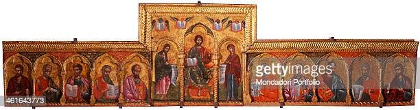 Deesis with Apostoles by Nicholas 16th Century tempera on wood Albania Berat Church of Saint Mary Vllaherna Whole artwork view Monumental icon with...
