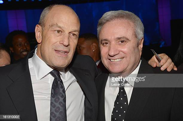 Def Jam CEO Barry Weiss and AEG Live CEO Randy Phillips attend the 55th Annual GRAMMY Awards Pre-GRAMMY Gala and Salute to Industry Icons honoring...