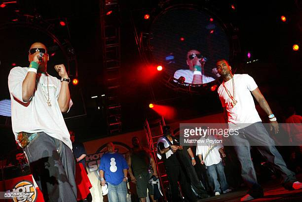 Def Jam president/rapper JayZ and Kanye West perform at the Hot 97 Summer Jam 2005 Concert June 5 2005 at Giant Stadium in East Rutherford New Jersey