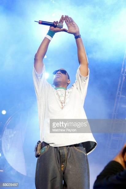 Def Jam president/rapper JayZ performs at the Hot 97 Summer Jam 2005 Concert June 5 2005 at Giant Stadium in East Rutherford New Jersey