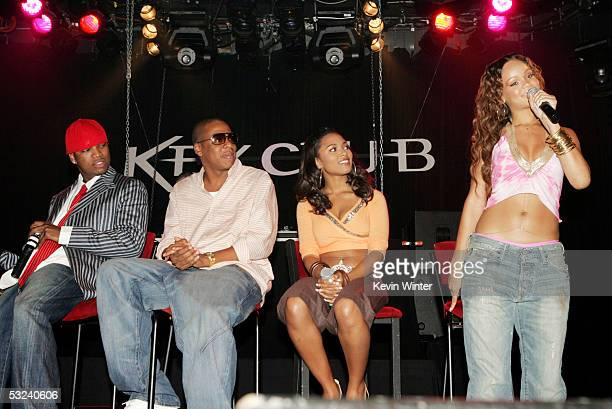 Def Jam recording artist NeYo Def Jam president and CEO Shawn 'Jay Z' Carter and RocAFella recording artists Teairra Mari and Rihanna appear onstage...