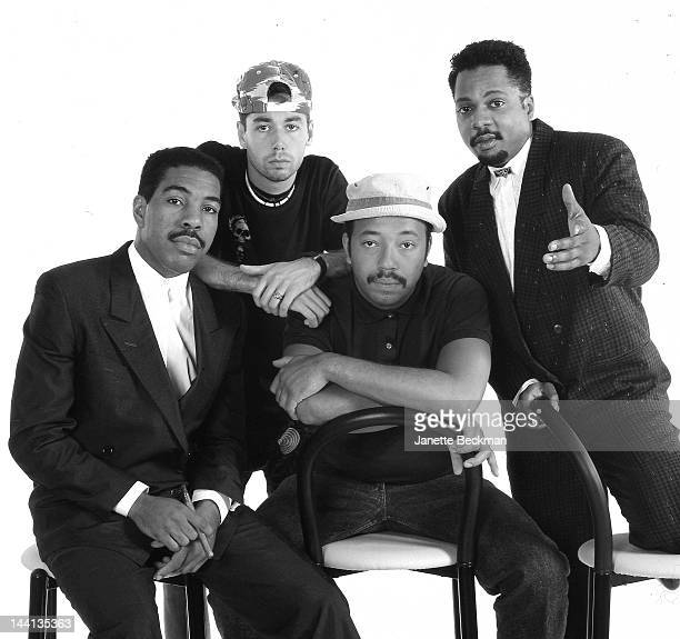 Def Jam recording artists with label founder Russell Simmons New York City 1987 Left to right Oran Juice Jones Adam Yauch of the Beastie Boys Russell...