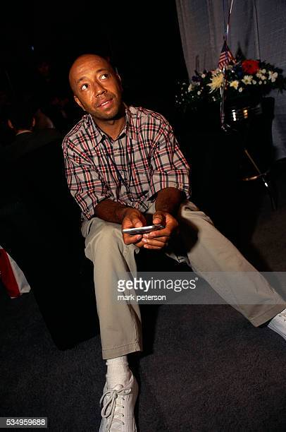 Def Jam Records CEO Russell Simmons sitting in a television studio for the Rap The Vote 2000 campaign and television program Rap The Vote was created...