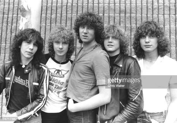 Def Leppard 1980 Pete Willis, Steve Clark, Joe Elliott, Rick Allen, Rick Savage at the Music File Photos 1980's in Los Angeles,