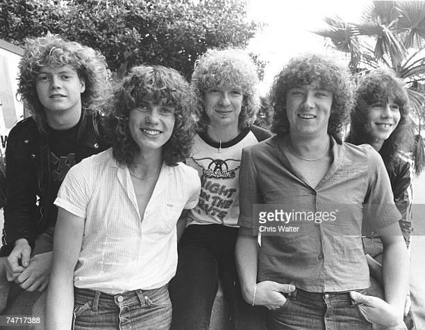 Def Leppard 1980 Rick Allen, Rick Savage, Steve Clark, Joe Elliott, Pete Willis at the Music File Photos 1980's in Los Angeles,
