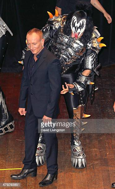 Def Leppard member Phil Collen and KISS member Gene Simmons attend the KISS and Def Leppard press announcement at House of Blues on March 17 2014 in...