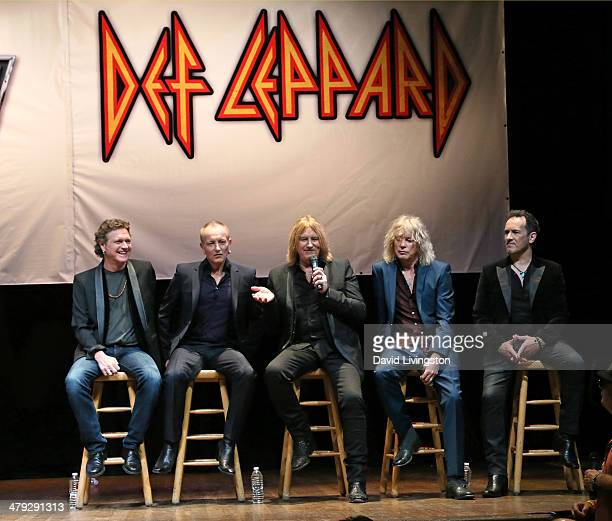 Def Leppard members Rick Allen Phil Collen Joe Elliot Rick Savage and Vivian Campbell attend the KISS and Def Leppard press announcement at House of...