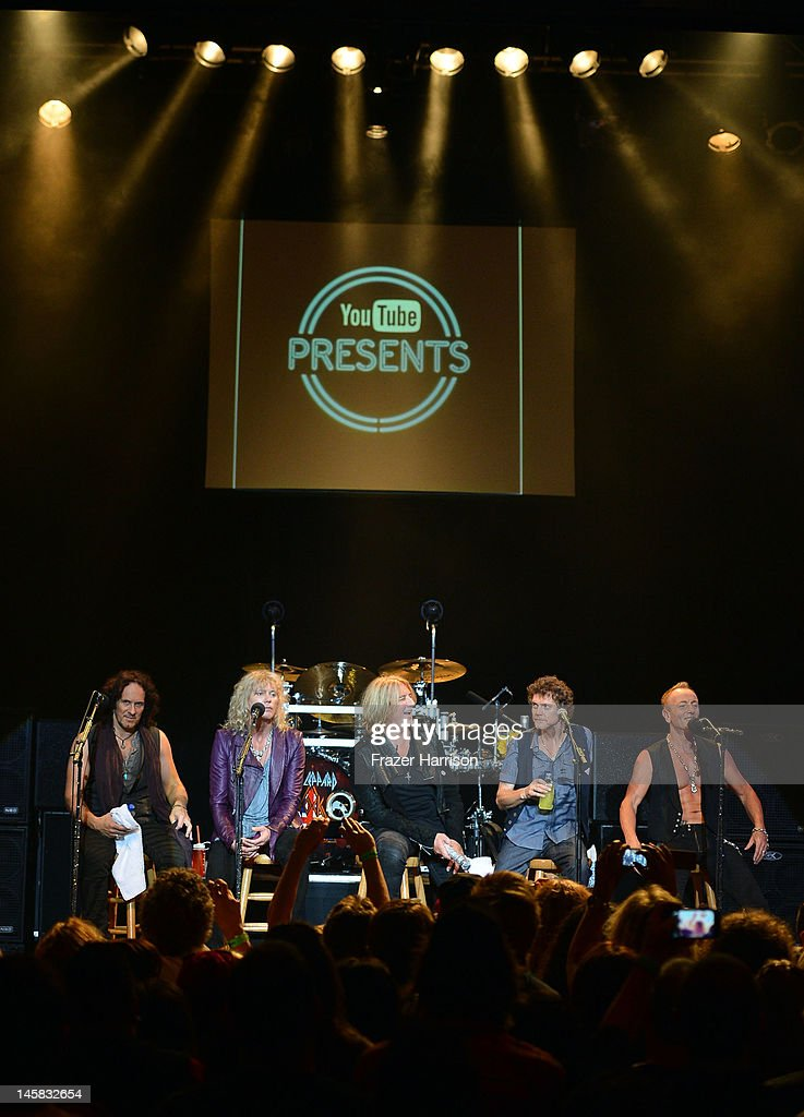 Def Leppard's Vivian Campbell, Rick Savage Joe Elliott, Rick Allen, Phil Collen take part in a Q+A at YouTube Presents Def Leppard At The House Of Blues at House of Blues Sunset Strip on June 6, 2012 in West Hollywood, California.