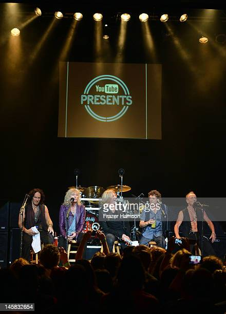 Def Leppard's Vivian Campbell Rick Savage Joe Elliott Rick Allen Phil Collen take part in a QA at YouTube Presents Def Leppard At The House Of Blues...