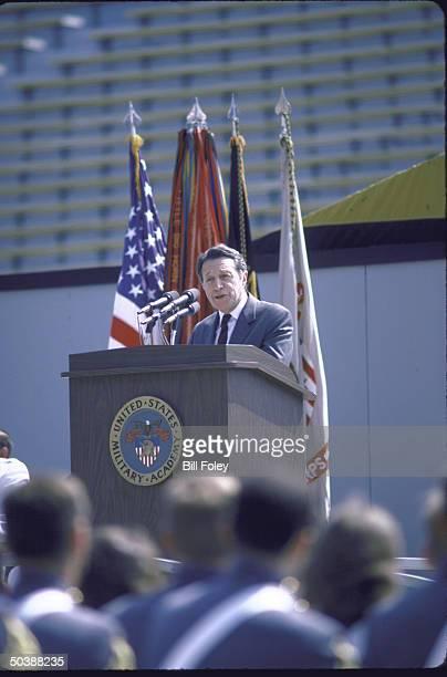 Def Secy Caspar W Weinberger addressing graduates at West Point commencement
