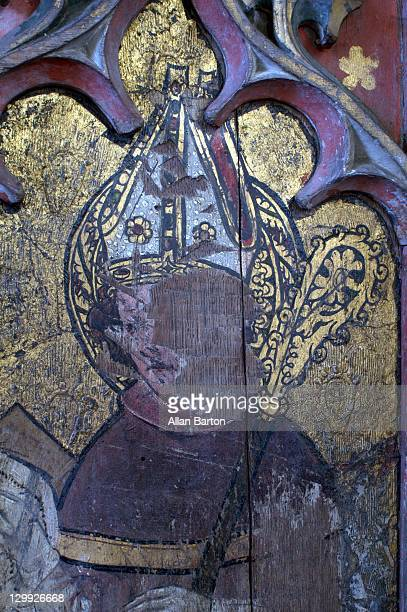 Defaced fifteenth century rood screen. South side: Doctors of the Church and other ecclesiastics. St Ambrose of Milan.