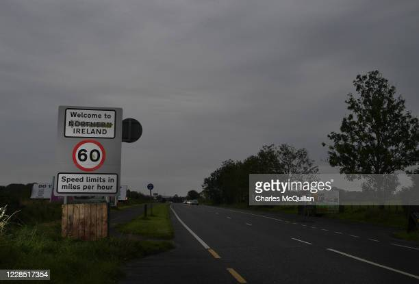 Defaced Welcome to Northern Ireland sign can be seen on the border between Northern Ireland and the Republic of Ireland can be seen on September 14,...
