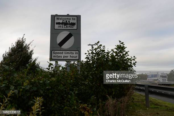 A defaced Welcome to Northern Ireland' sign is situated on the Irish and UK border on October 9 2018 in Newry Northern Ireland Talks on the Irish...