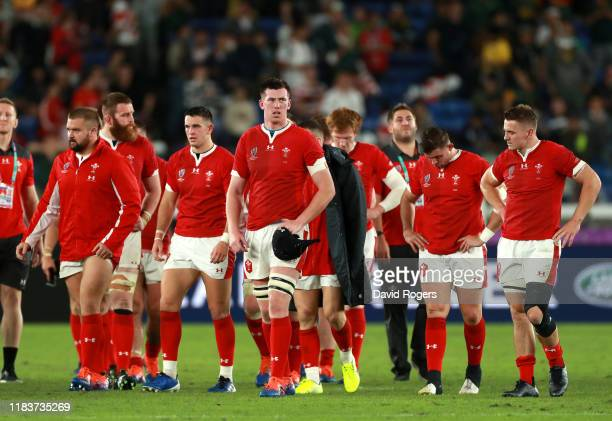 A defea during the Rugby World Cup 2019 SemiFinal match between Wales and South Africa at International Stadium Yokohama on October 27 2019 in...