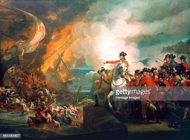 'Defeat of the Floating Batteries at Gibraltar' 1782 General Sir George Eliott is on horseback pointing to the battle between the British and the...