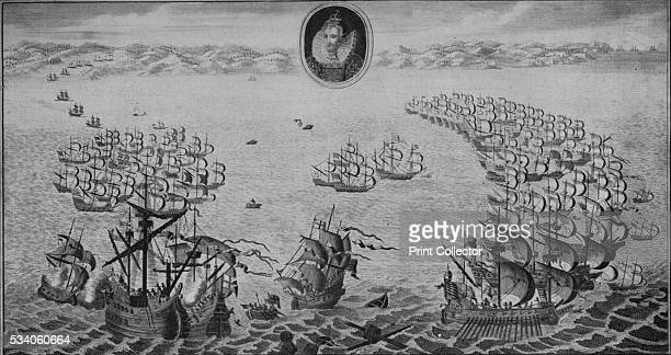 Defeat of the Spanish Armada' , from 'Old Naval Prints,' by Charles N Robinson & Geoffrey Holme , 1924. An engraving of the battle between the...
