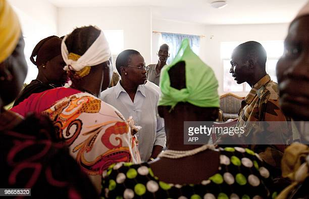 Defeated candidate for the governorship of Bentiu Angelina Teny speaks with members of her party in the capital of southern Sudan's Unity state on...