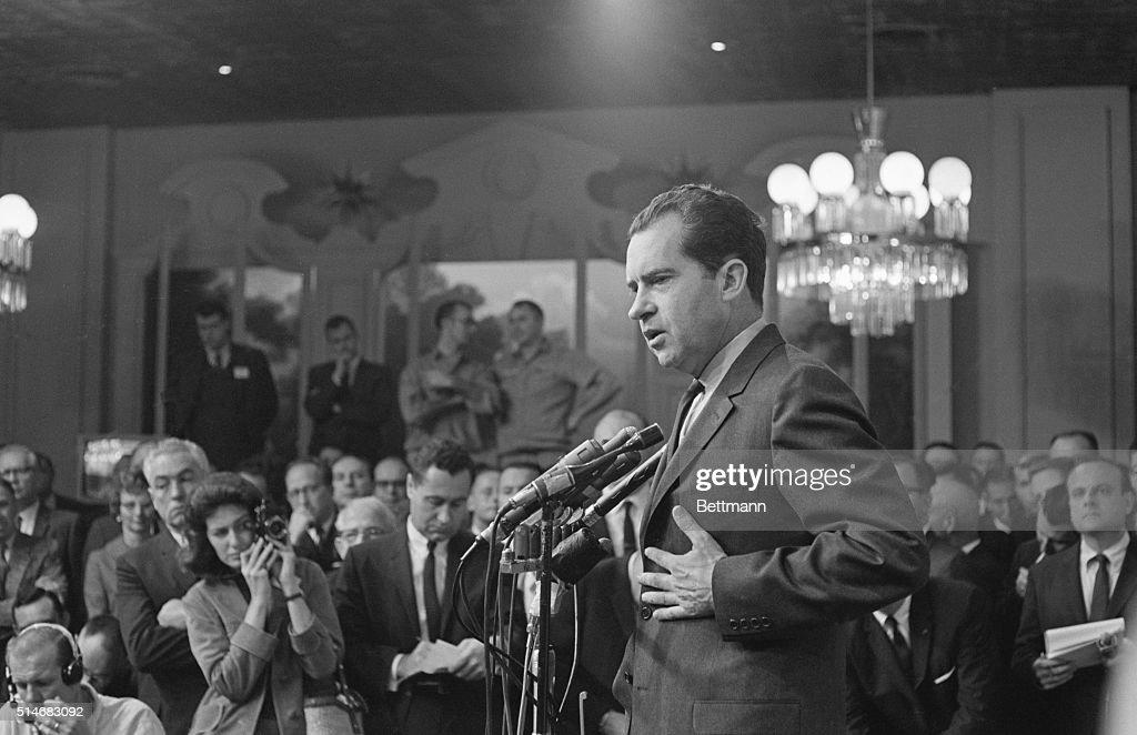 Richard Nixon Speaking at Press Conference : News Photo