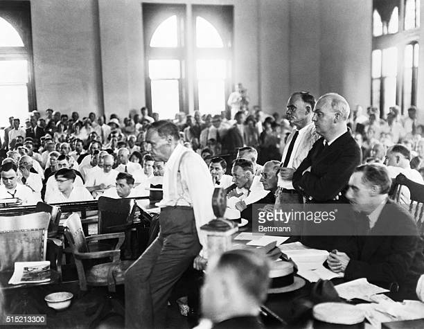 Defence attorney Clarence Darrow leans against a table during the Scopes Monkey Trial in which biology teacher John T Scopes was prosecuted for...