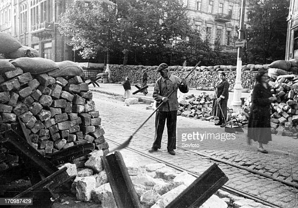Defence barricades in the street of odessa, 1941.
