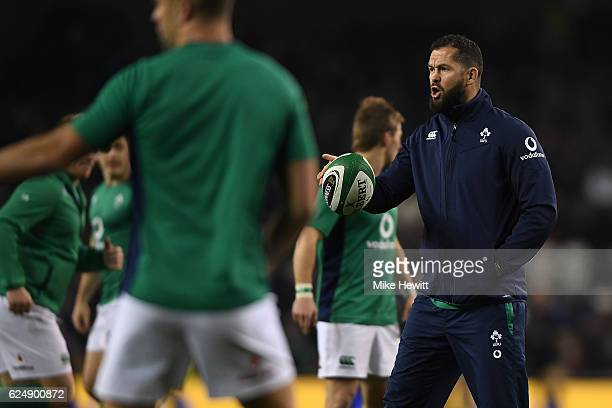 Defence coach Andy Farrell looks on during prematch training during the International Friendly between Ireland and New Zealand at Aviva Stadium on...