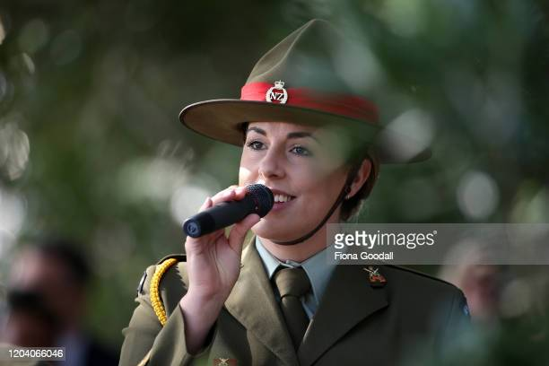 A defence force band member sings a waiata at the opening of Te Rau Aroha on February 05 2020 in Waitangi New Zealand The $146 million Maori...