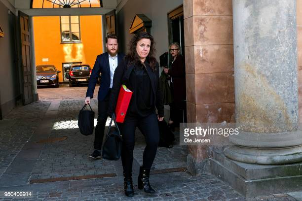 Defence lawyer Betina Hald Engmar leaves Copenhagen City Court in the murder case against Danish submarine owner Peter Madsen ll on April 23 2018 in...