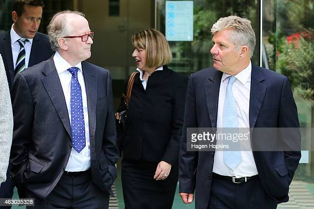 Defence lawyers David Hislop QC and Ross Burns depart after the first session at Wellington High Court on February 9 2015 in Wellington New Zealand A...