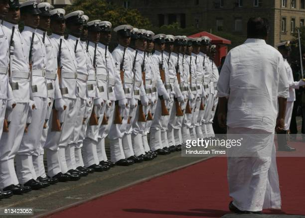 Defence minister A K Anthony gets Gaurd of Hounor before INS Shivalik commissioned in Indian Navy in Mumbai
